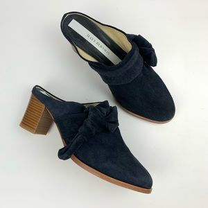 Matt Bernson Anthropologie Suede Mules Bow Stacked